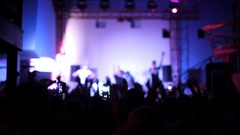 People take off concert on a mobile phone Stock Footage