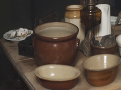 Bowls and kitchen utensils in a 19th Century Back to Back House Stock Footage