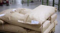 Macaroni in big bags Stock Footage
