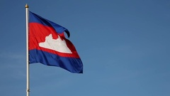 Cambodia Flag (slow motion) Stock Footage