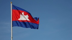 Cambodian Flag (super slow motion) Stock Footage