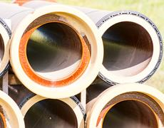 Stack of canalization pipes Stock Photos