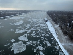 Breaking Of The Ice On The River Danube Stock Footage