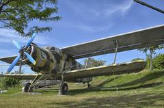Retired Antonov An-2 military aircraft camouflaged Stock Photos