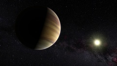 The Planet Jupiter with distant sun background Stock footage. A photo realistic Stock Footage