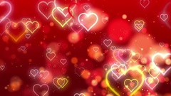 Red Valentine Flowing Hearts and Particles Stock Footage