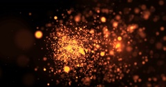 Gold glow glittering particles bokeh tail transition sparkle effect Stock Footage