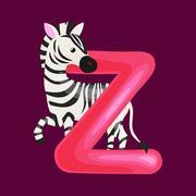 Letter Z with zebra animal for kids abc education in preschool Stock Illustration