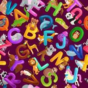 Seamless pattern animals alphabet for kids abc education in preschool Stock Illustration