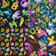 Animals alphabet set for kids abc education in preschool Stock Illustration