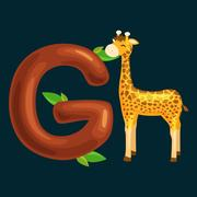 Letter with animal for kids abc education in preschool. Stock Illustration