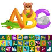 Abc animal letters for school or kindergarten children alphabet education i.. Stock Illustration