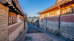 Time lapse of Bukchon Hanok Village in Seoul , South Korea Stock Footage