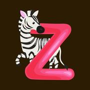 Letter Z with zebra animal for kids abc education in preschool. Stock Illustration