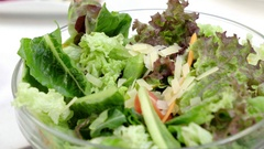 Fresh salad strew grated cheese. Stock Footage
