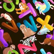 Seamless pattern animals alphabet for kids abc education in preschool. Stock Illustration