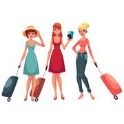 Hree girls, in dress and jeans, travelling together with suitcases Stock Illustration