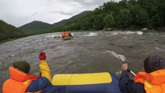 Rafting on Kamchatka Peninsula in gloomy weather Stock Footage