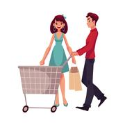 Man pushing a cart and woman holding shopping bags Stock Illustration