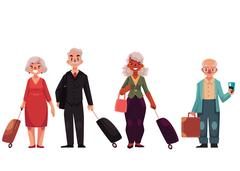 Set of old, grey haired, senior travelers with luggage, suitcases Stock Illustration