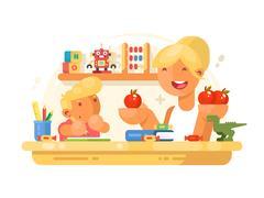 Mom helps son do homework Stock Illustration