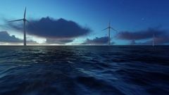 Alternative Energy Wind Turbines in Ocean Sunrise 2K Ultra HD Stock Footage