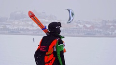 Kazan, Russia, 7 january 2017, Snow-kite festival orange wind, sportsmen on ice Stock Footage