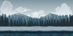 Background for games apps or mobile development. Cartoon nature landscape with Stock Illustration