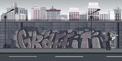 Graffiti wall background, urban art Stock Illustration
