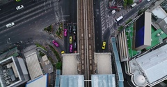 Aerial Footage of Streets and Train Line in Bangkok, Thailand Stock Footage