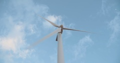 Large wind turbine in a low angle shot Stock Footage