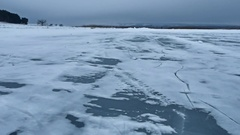 Ice blue on the river water frozen winter landscape Stock Footage