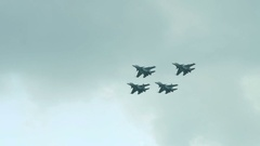 Aerobatic team of fighters in the sky Stock Footage