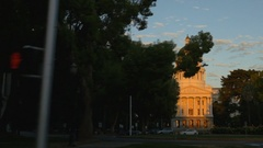 California capitol building at sunset, Sacramento (zoom, tracking) Stock Footage