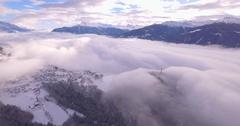 Village of Lens in winter - Aerial 4K Stock Footage