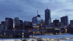 Denver Skyline Sunrise Pan Stock Footage