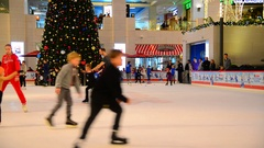 Krasnogorsk, Russia People are skating in shopping Stock Footage