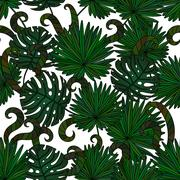 Tropical island seamless pattern Piirros
