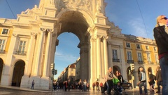 Crowd At Rua Augusta Arch In Lisbon Time Lapse Stock Footage
