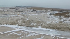 Scour. Winter. The compound of the estuary and the sea. Dried scour Stock Footage