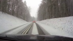 Driving a car in heavy snow Stock Footage