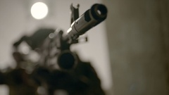 Military group of soldiers. Focus on gun. Stock Footage