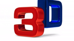 3D symbol on white background. Render image Stock Footage