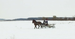 Horse-drawn carts, on snow Stock Footage