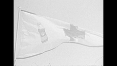 Vintage 16mm film, 1959 red cross flags, blood donor flag Stock Footage