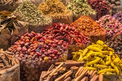Spices and herbs being sold on Morocco traditional market Stock Photos