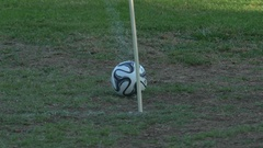 Details of soccer football balls on a grassy field. Stock Footage