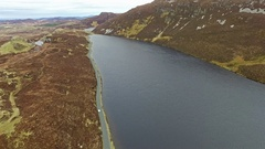 Aerial views of irish landscape between Lough Greenan and Lough Salt Stock Footage