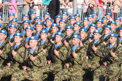 Serbain Army On Military Parade October 14th 2014. Stock Photos