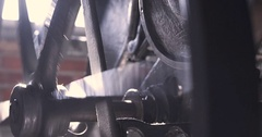 Gears Spinning on a Vintage Printing Press Stock Footage